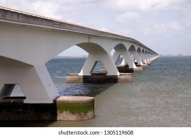 Netherlands,Zeeland,july 2018: The zeeland bridge is the longest in The Netherlands, it spans the Oosterschelde estuary