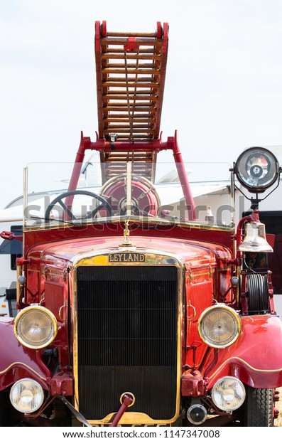 Netley Marsh, United Kingdom - July 21 2018:   A Leyland Cub FK6 fire engine, known as Belinda. Made in 1937 by Leyland Motors as a special order for Cape Hill Brewery Fire Brigade.