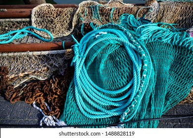 nets and ropes, equipment on a fishing boat, selected focus
