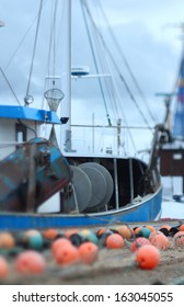 nets and ropes in the harbor of burgstaaken, fehmarn, germany