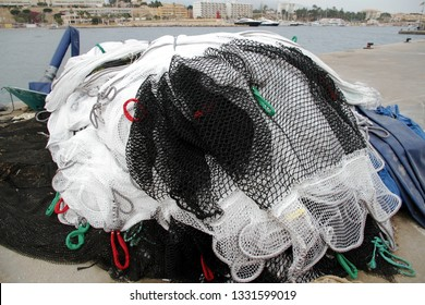 Nets used in the cages of Mediterranean fish farms.