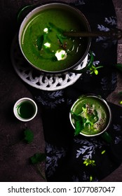 nettle soup  with Wild Garlic Oil ..style rustic.selective focus