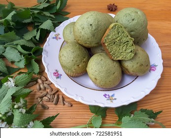 Nettles green muffins with cardamom from green dough pastry