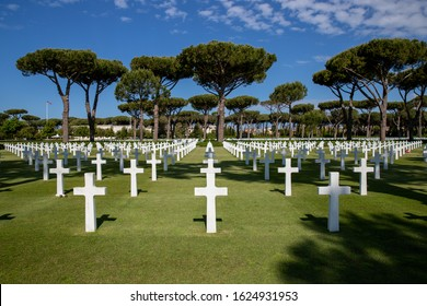 Nettuno, Anzio/Italy - May 23 2019: American cemetery for soldiers who fell during the Second World War