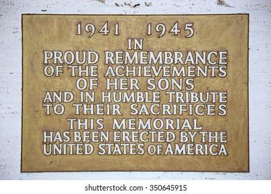 NETTUNO - April 06: Plaque in the Chapel of the American Military Cemetery of Nettuno in Italy, April 06, 2015 in Nettuno, Italy.
