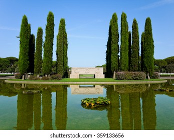 NETTUNO, ITALY - AUGUST 17 2013: Pond of the American Military Cemetery.