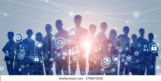 Network of business concept. Group of businesspeople. Human resources. Digital transformation.