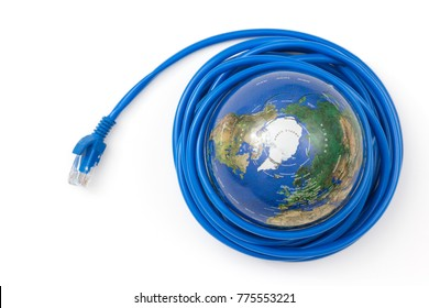 Network cable wrapped around the globe isolated on white background.