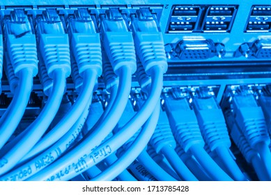 network cables connected to switch - closeup of data center hardware