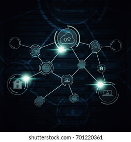 Network cloud computer security background