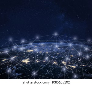 Network communication around Earth seen from space, global worldwide connection concept, international business technology, telecommunication, finance, IOT and crypto currency; planet image from NASA
