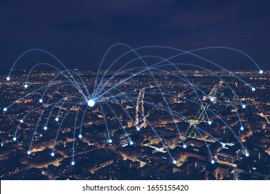network communication or distribution concept, connection line from central point over night city