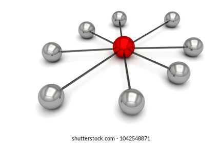 Network communication web 3D illustration