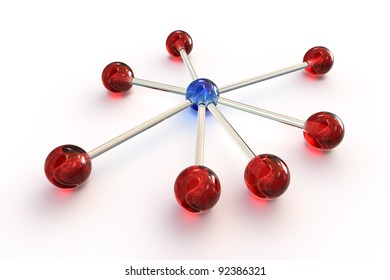 Network concept with 7 red transparent balls connected to a blue transparent ball