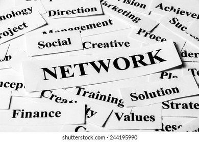 Network concept with some related words paper.