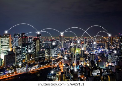 network connected city concept background
