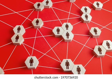 Network of connected people. Interactions between employees and working groups. Networking. Communication in the company. Dynamic hierarchical system. Partnerships, business connections. Cooperation