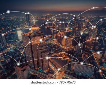 network connection  with aerial view of cityscape,technology concept