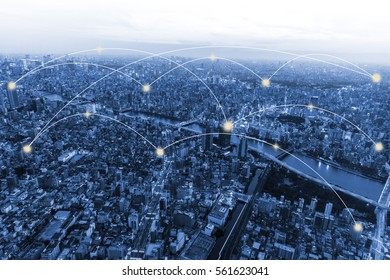 Network connection and city scape of Tokyo