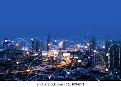 Network Connection in the City, Technology and Digital Network Concept