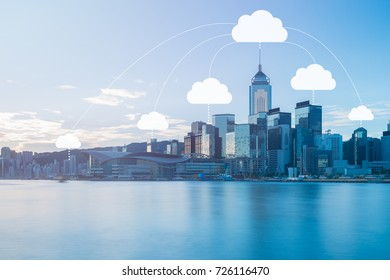 Network connection and cloud storage technology concept on modern and smart city blue tone cityscape, data communications and cloud computing network concept.