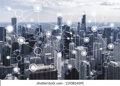 Network connection concept with chicago cityscape background