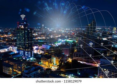 network connection digital technology on city background for business connection with partnership and wireless technology concept.