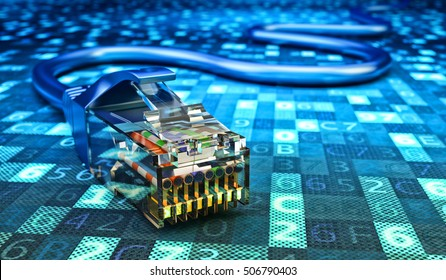 Network connection, internet communication and computer technology concept, closeup view of ethernet cable plug connector on blue digital code data background, 3d illustration