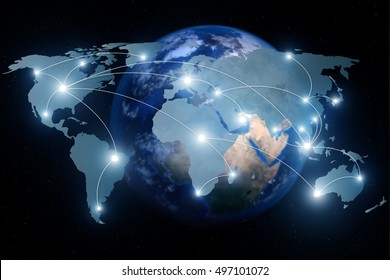Network connection partnership and world map. Network connection technology concept (Elements of this image furnished by NASA).