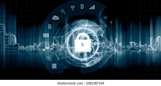 Network connection security system technology. Globe and network connection and lock icon. Element of this image are published by NASA