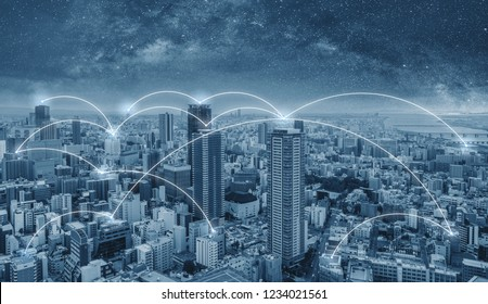 Network connection technology in the city, Blue cityspace with connection network lines