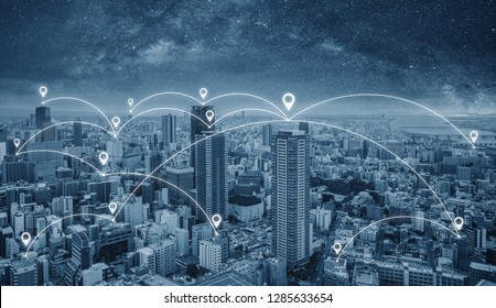 Network connection technology in the city, Blue cityspace with network links and location signs