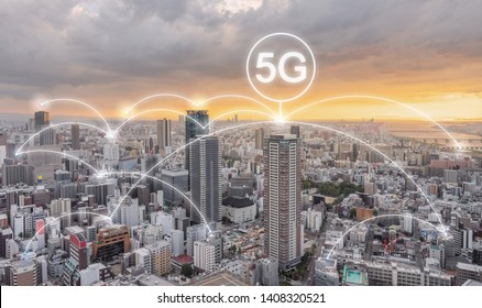 Network connection technology in the city sunset, with 5g internet networking sign