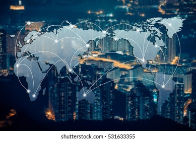 Network and Connection technology concept with city and globe background