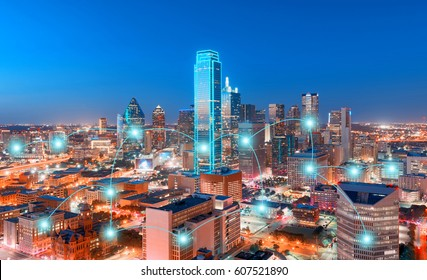 Network and Connection Technology Concept of Skyscrapers, City of Dallas, Texas, USA