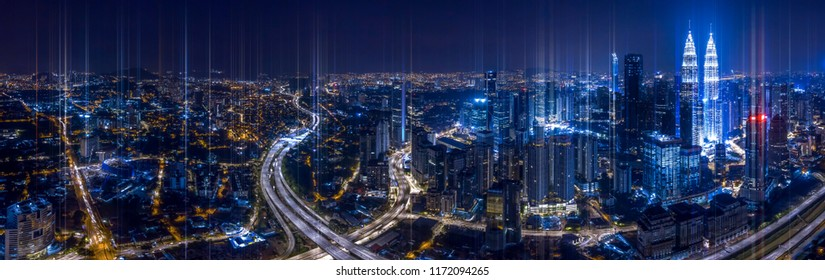 Network and Connection technology conceptual image with virtual interface against night glowing city
