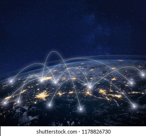 network connection technology, global business communication, planet image from NASA
