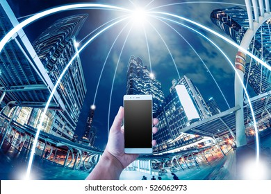Network and Connection technology and mobile concept with city background