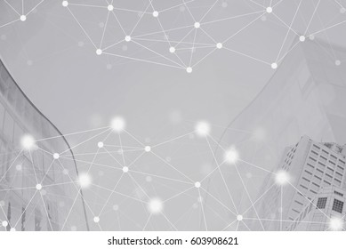 Network connection technology with modern cityscape background. Network connection concept. E-commerce, easy community life in modern city.