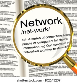 Network Definition Magnifier Shows System Of Computers Or People Connected
