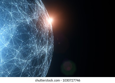 Network globe with view from space and flare of light.