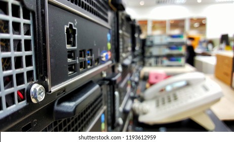 network hub and Network switch with office background