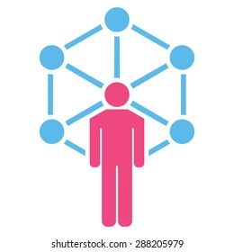 Network icon from Business Bicolor Set. This flat raster symbol uses pink and blue colors, rounded angles, and isolated on a white background.