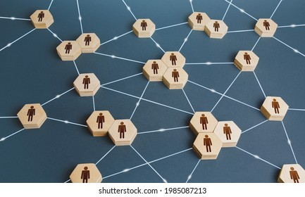 Network of interconnected people. Interactions between employees and working groups. Social business connections. Networking communication. Decentralized hierarchical system of company. Organization