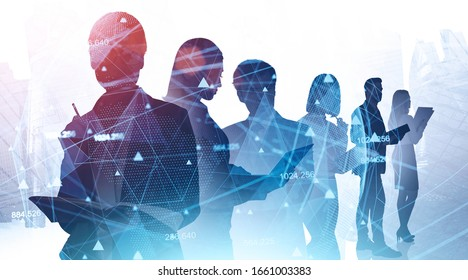 Network and internet communication concept. Silhouettes of business people in abstract city with double exposure of blurry network interface. Toned image - Shutterstock ID 1661003383
