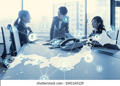 Network of Japan. Japanese communication network.