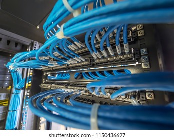 Network lan cable in rack cabinet