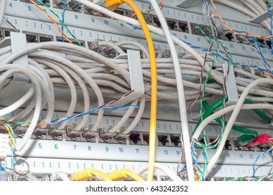 Network LAN cables close-up in the mounted server cabinet