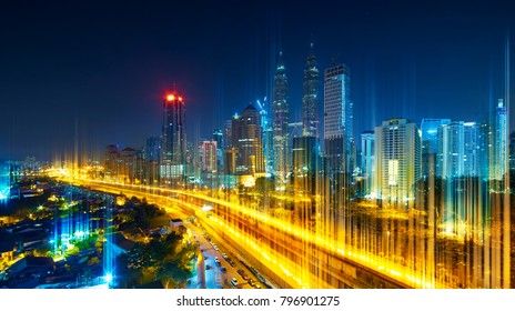 The network light came out from the highway and ground ,modern city with wireless network connection concept , abstract communication technology image visual .