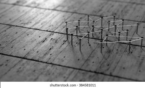 Network, networking, connect, wire. Linking entities. Network of black color wires on grey floor.